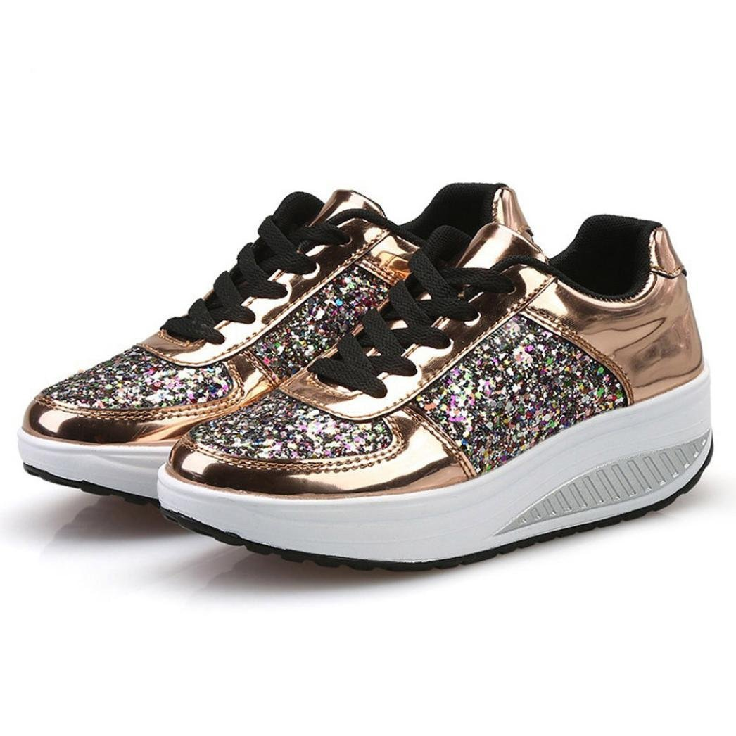 Women Sneakers, Shybuy Ladies Fashion Sequins Wedges Sneakers Casual Lace-Up Shoes Girls Sport Shoes (5, Gold)