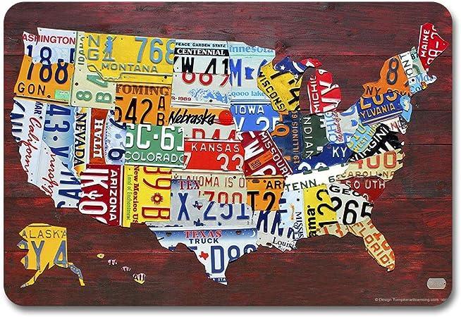 Placa de matrícula de Estados Unidos, diseño de mapa de la marca None Brand, retro de