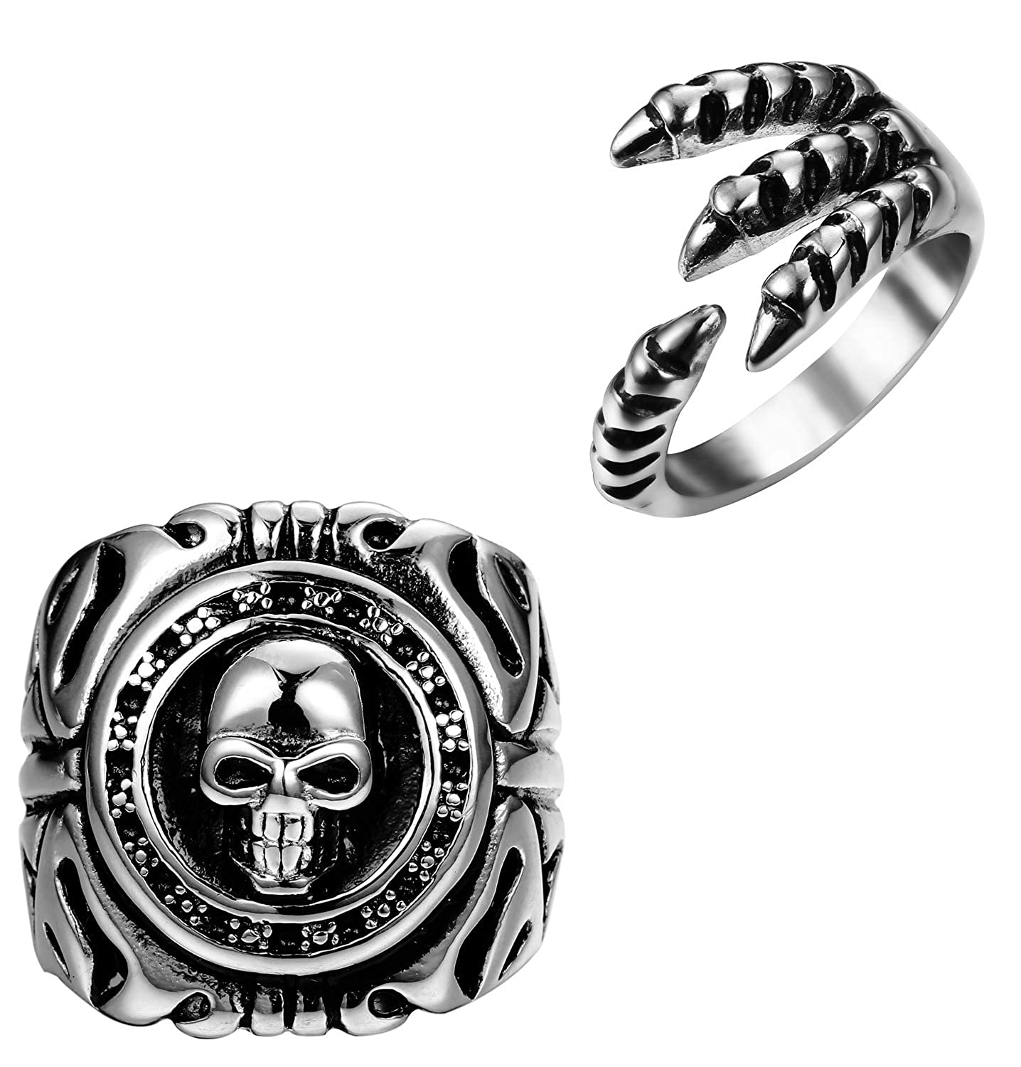 Udalyn 2 Pcs Stainless Steel Biker Ring for Men Vintage Punk Skull Dragon Claw Band Rings RS03
