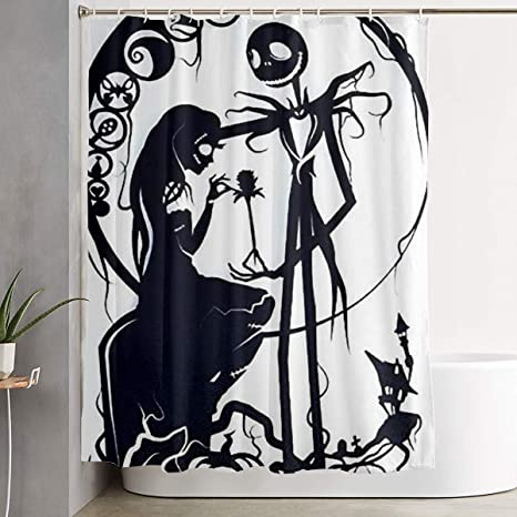 Amazon Com Stylish Shower Curtain Nightmare Before Christmas Jack And Sally Printing Waterproof Bathroom Curtain 60 X 72 Inches Home Kitchen