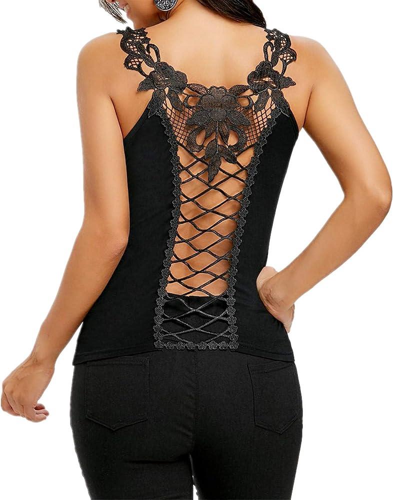 Proumy Camisola Negra de Tiras Cruzadas Mujer Chaleco Suelta Espalda Abierta Blusa Floral Camiseta de Encaje Vestido Transparente Tops de Talla Grande Traje Hueco Elegante Camisa Cuello V Nuevo 2019: Amazon.es: Ropa