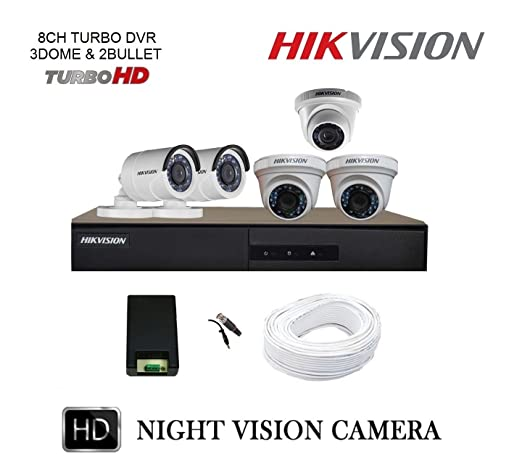 Hikvision TURBO 8 Channel DVR & (3+2) CCTV Camera Kit Bullet Cameras at amazon