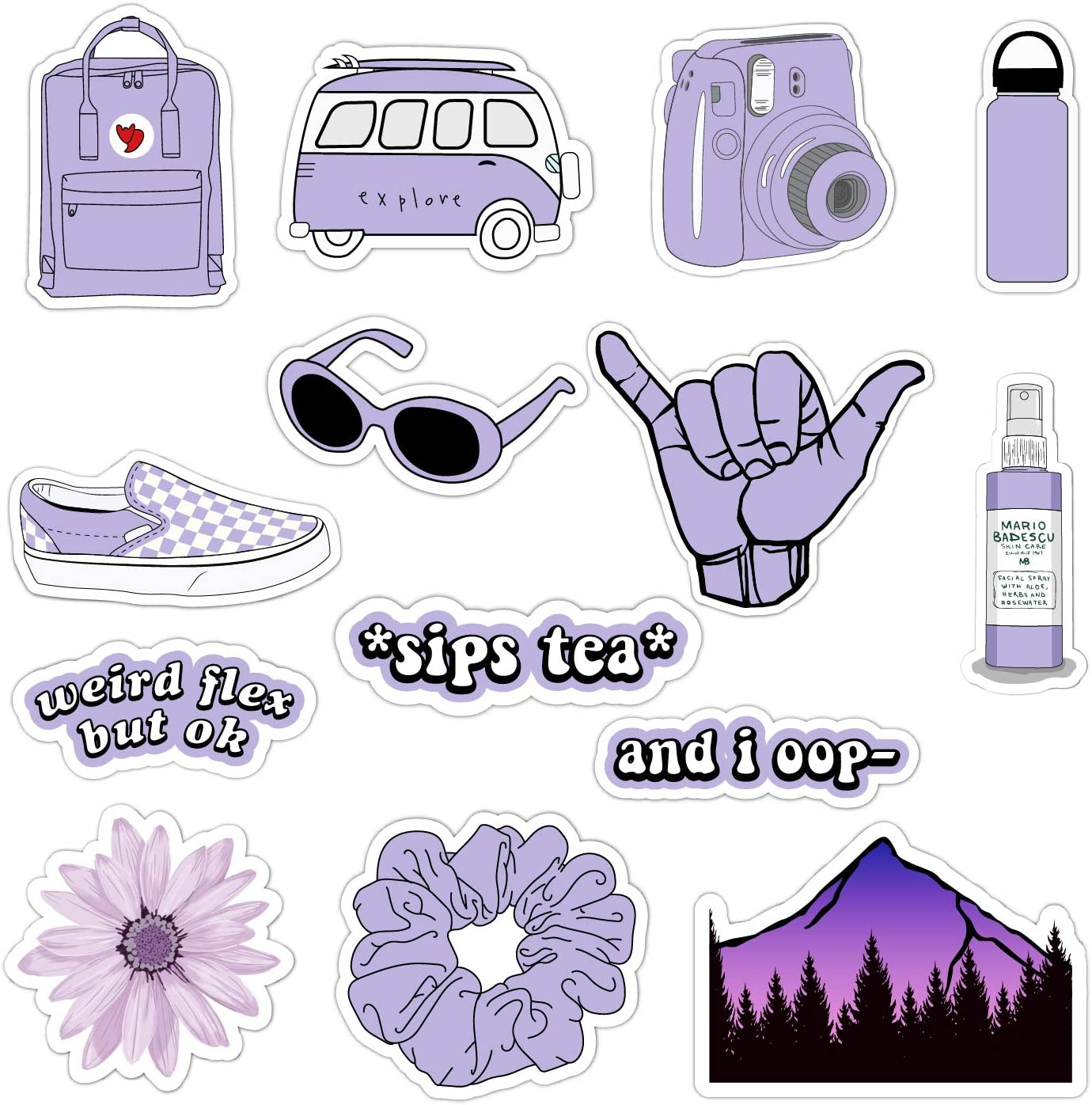 Amazon Com Vsco Vinyl Stickers For Hydro Flask Water Bottle Stickers For Laptop Guitar Computer Phone Luggage Skateboard Aesthetic Trendy Cute Basic Vsco Girl Essential Stuff Pack For Teen Girls Purple Home
