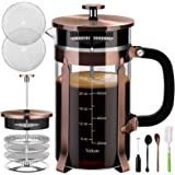 Veken French Press Coffee Maker (8 cups, 34 oz), 304 Stainless Steel Coffee Press with 4 Filter Screens, Durable Easy…
