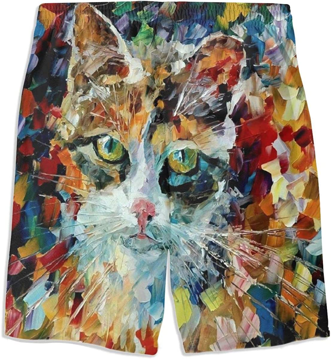 Cat Blue Space Boys Swim Trunks Funny Cool Board Shorts Little Boys Kids Swimsuits 3D Printed Summer S-XL