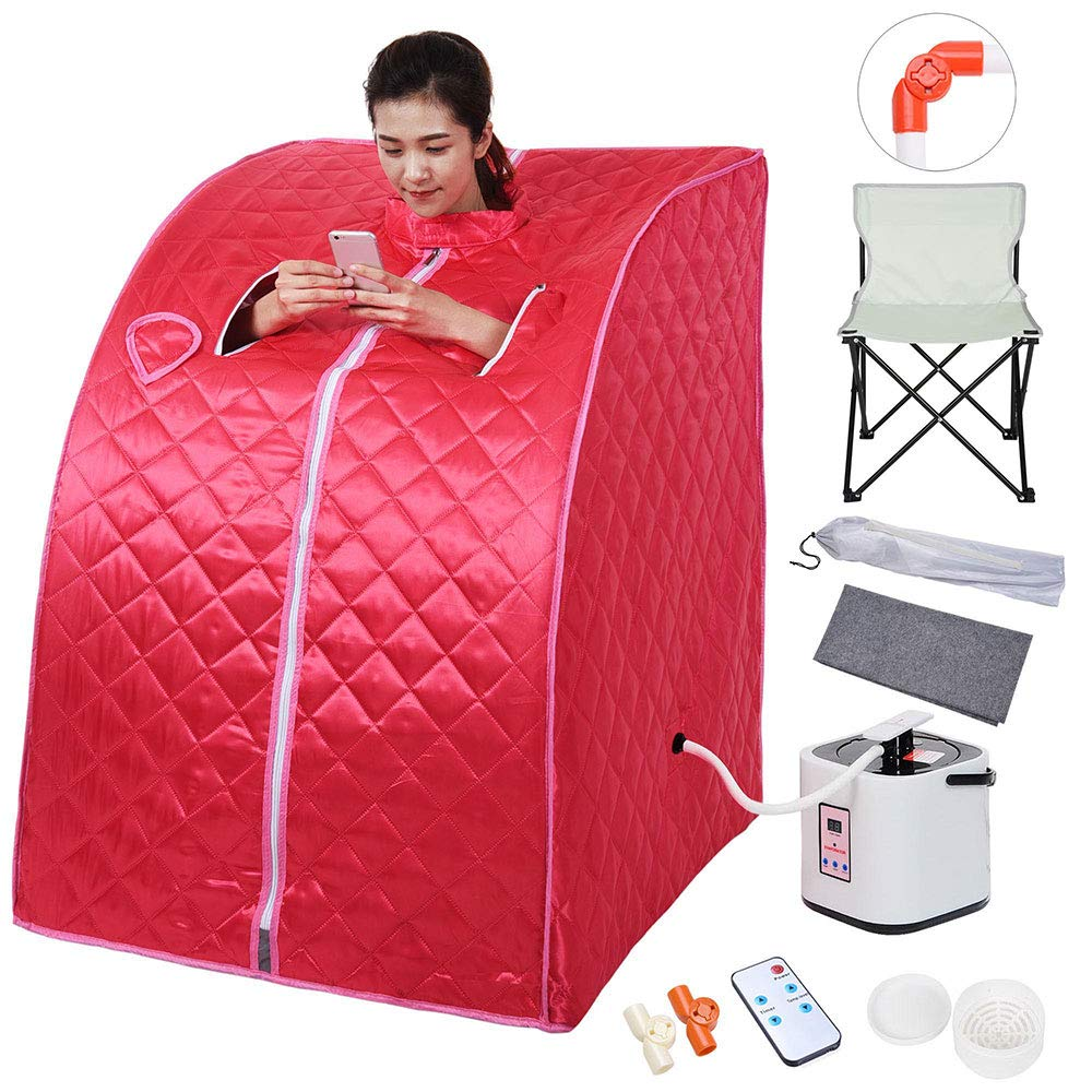 AW Portable Large Chair Red Personal Therapeutic Steam Sauna SPA Slim Detox Weight Loss Home Indoor by AW