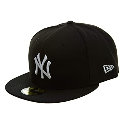 de9601867d3 Amazon.com  New Era 59Fifty Hat MLB Basic New York Yankees Black White  Fitted Baseball Cap  Clothing