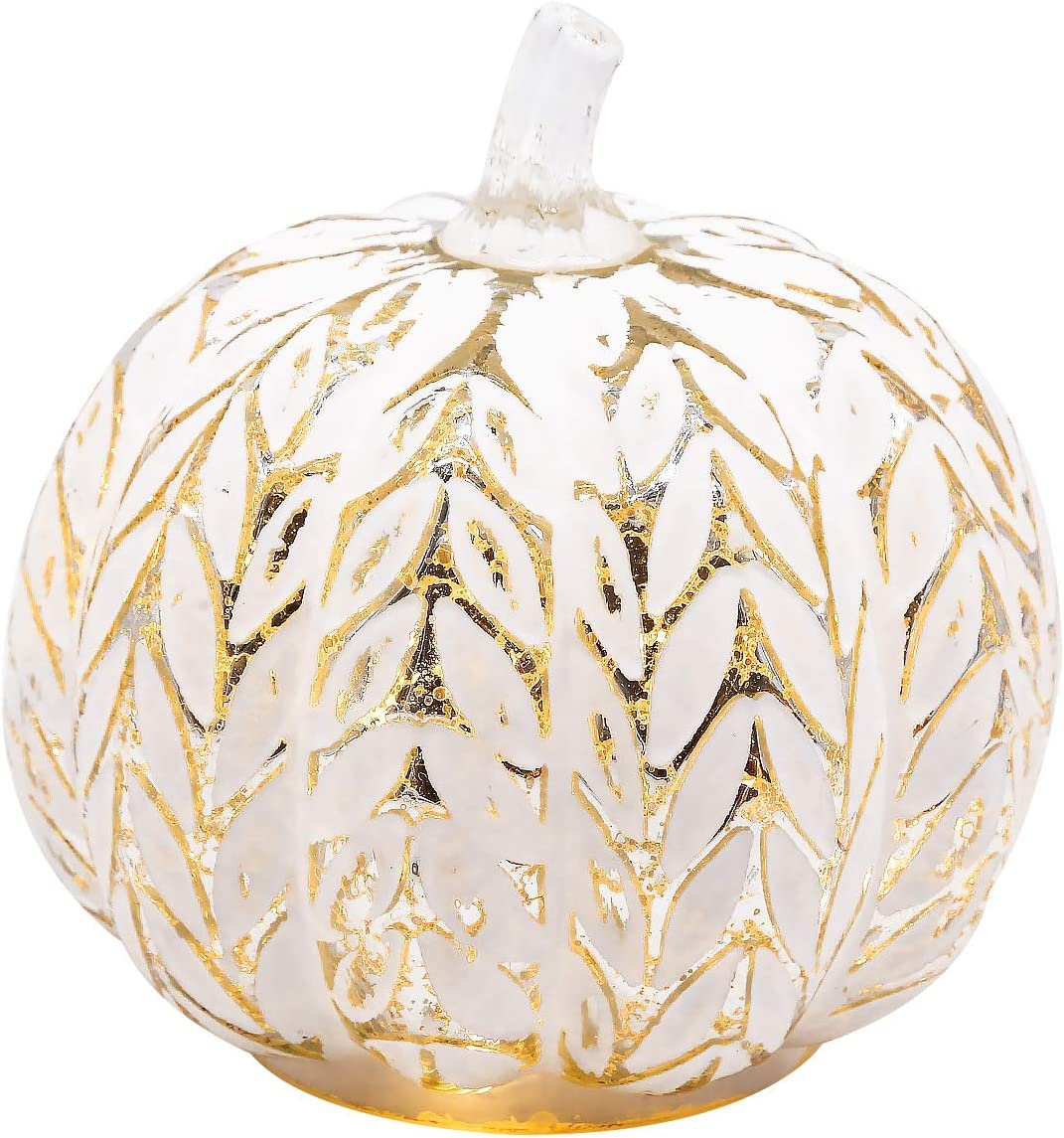 Romingo Mercury Glass Pumpkin Battery Operated LED Light with Timer and Home Fall Decor, Silver Leaves, 6 inches