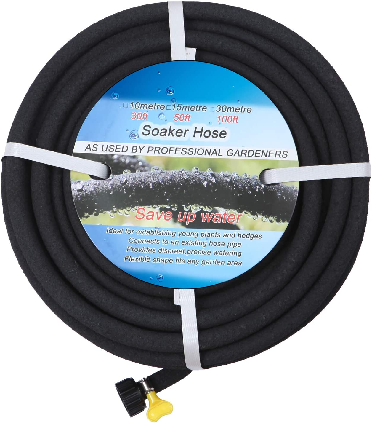 """BUYOOKAY Soaker Hose 100ft with 1/2'' Diameter Interface Saves 70% Water Great for Gardens/Flower Beds Black (100' x 1/2""""-a, Black)"""