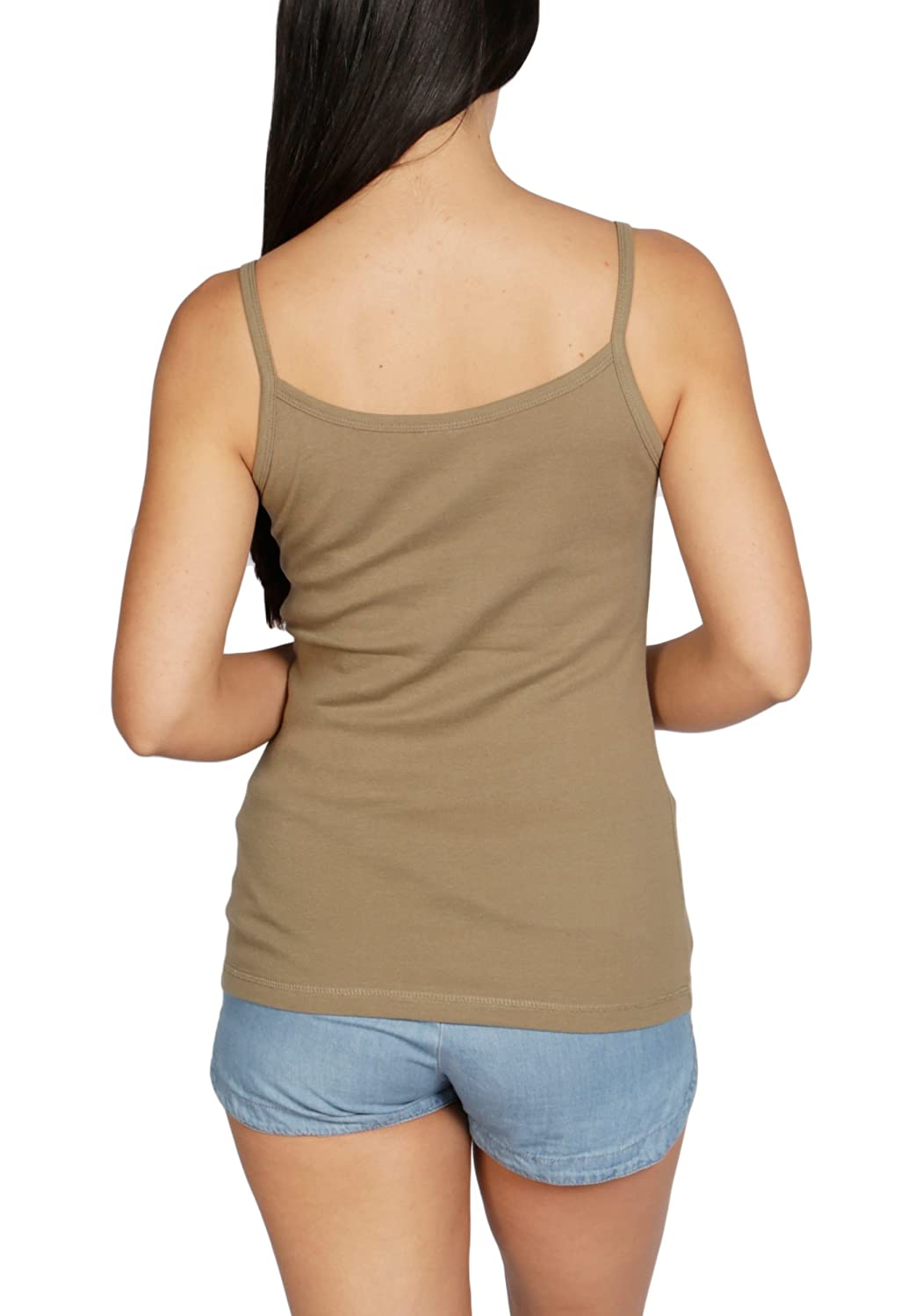 Blu Cherry 3 Pack Womens Plain Cotton Strappy Camisole Tank Top T Shirt Multi Pack Slim Fit