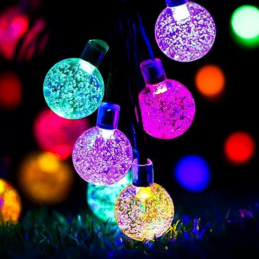 Guirnalda solar, glisteny 30 LED lámpara solar – guirnalda solar LED iluminación Waterproof exterior cadena de luces 7 modos de trabajo para jardín, terraza, fiesta de Navidad, boda: Amazon.es: Hogar