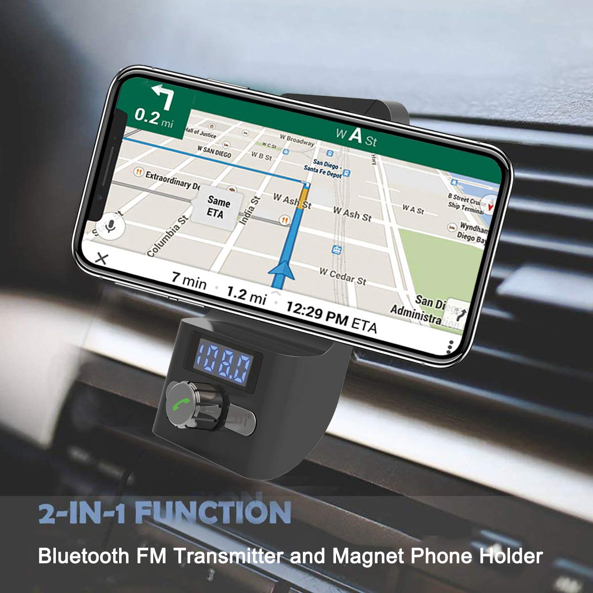 Magnetic Cell Phone Holder/for iPhone/X//Xs//XR//Xs Max//8//8Plus,Galaxy S10//S9//S8//S7//Note 9//8 Sony Nokia,BlackBerry and More Bluetooth FM Transmitter Nexus Handsfree Bluetooth Car Phone Mount