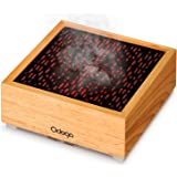 Odoga Aromatherapy Essential Oil Diffuser, Real Wood 90 ml Ultrasonic Whisper Quiet Cool Mist Humidifier Features Red and Warm White Flame Light Effect