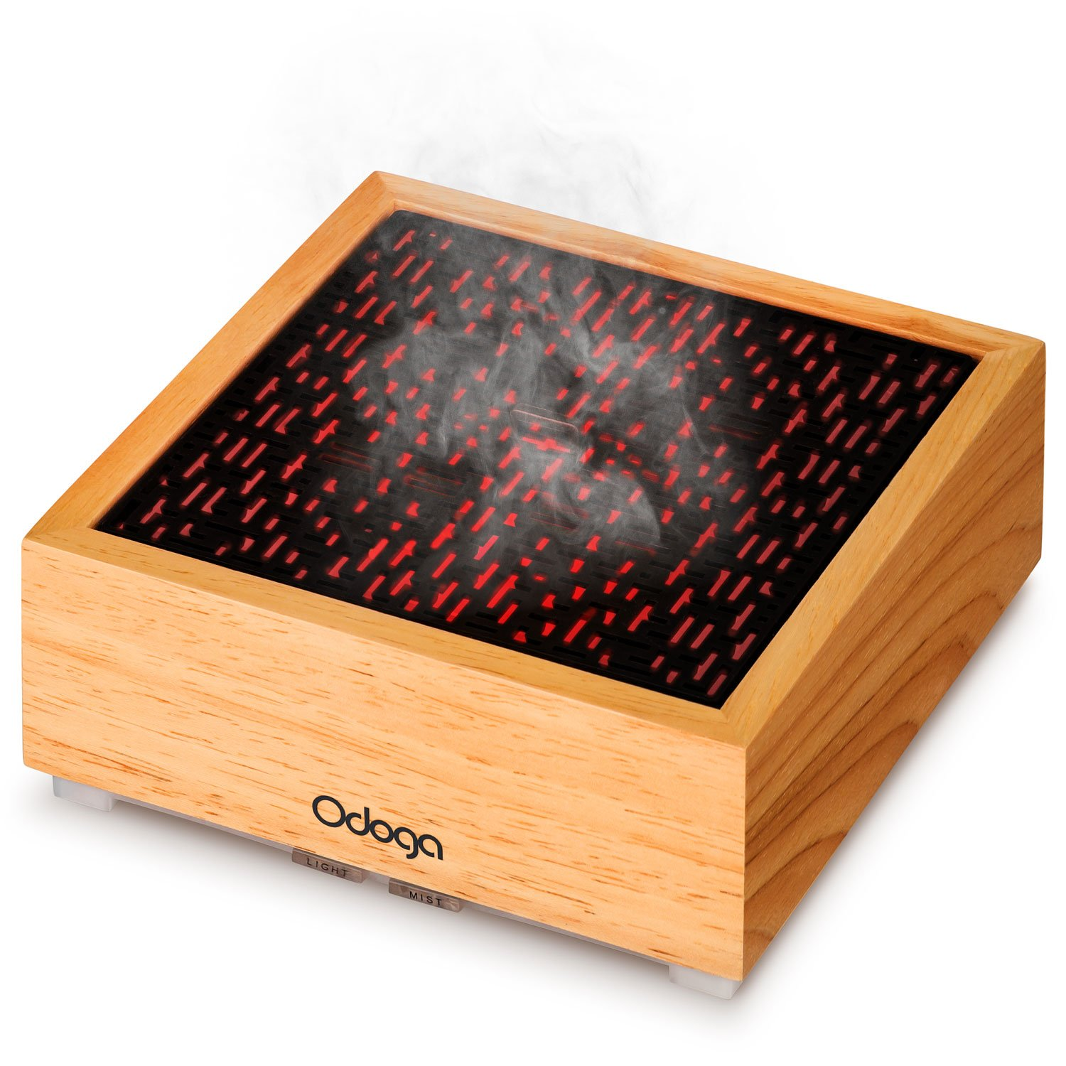 Odoga Aromatherapy Essential Oil Diffuser, 90 ml Real Wood Ultrasonic Whisper Quiet Cool Mist Humidifier Features Red and Warm White Flame Light Effect Atrium