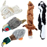 Downtown Pet Supply Dog Chew Stuffed Dog Toy Gift Big Bundle 5-Pack with Duck, Rabbit, Pheasant, Fox, Racoon Plush and…