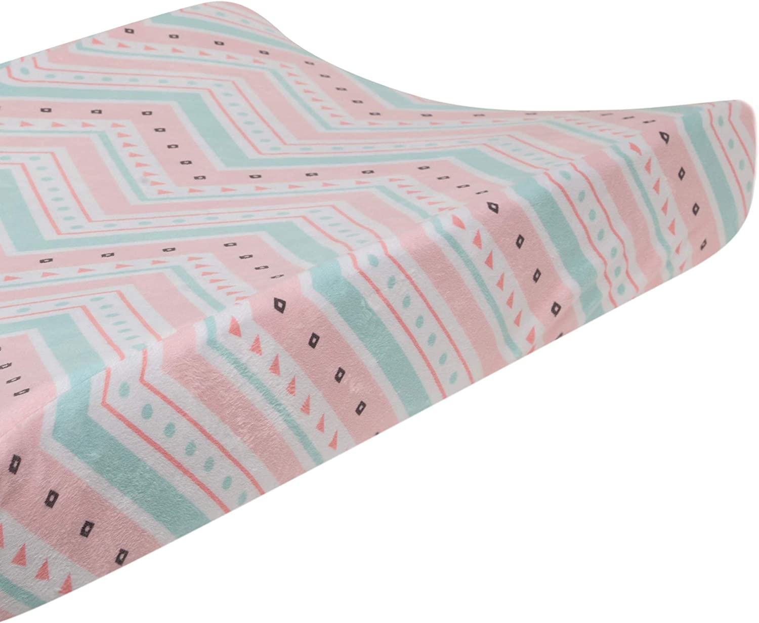 Lambs /& Ivy Little Spirit Coral//White//Blue Chevron Baby Changing Pad Cover