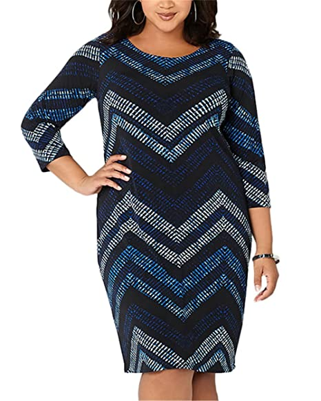 CACNCUT Women\'s Plus Size Dresses, Office Bodycon Soft Printed ...