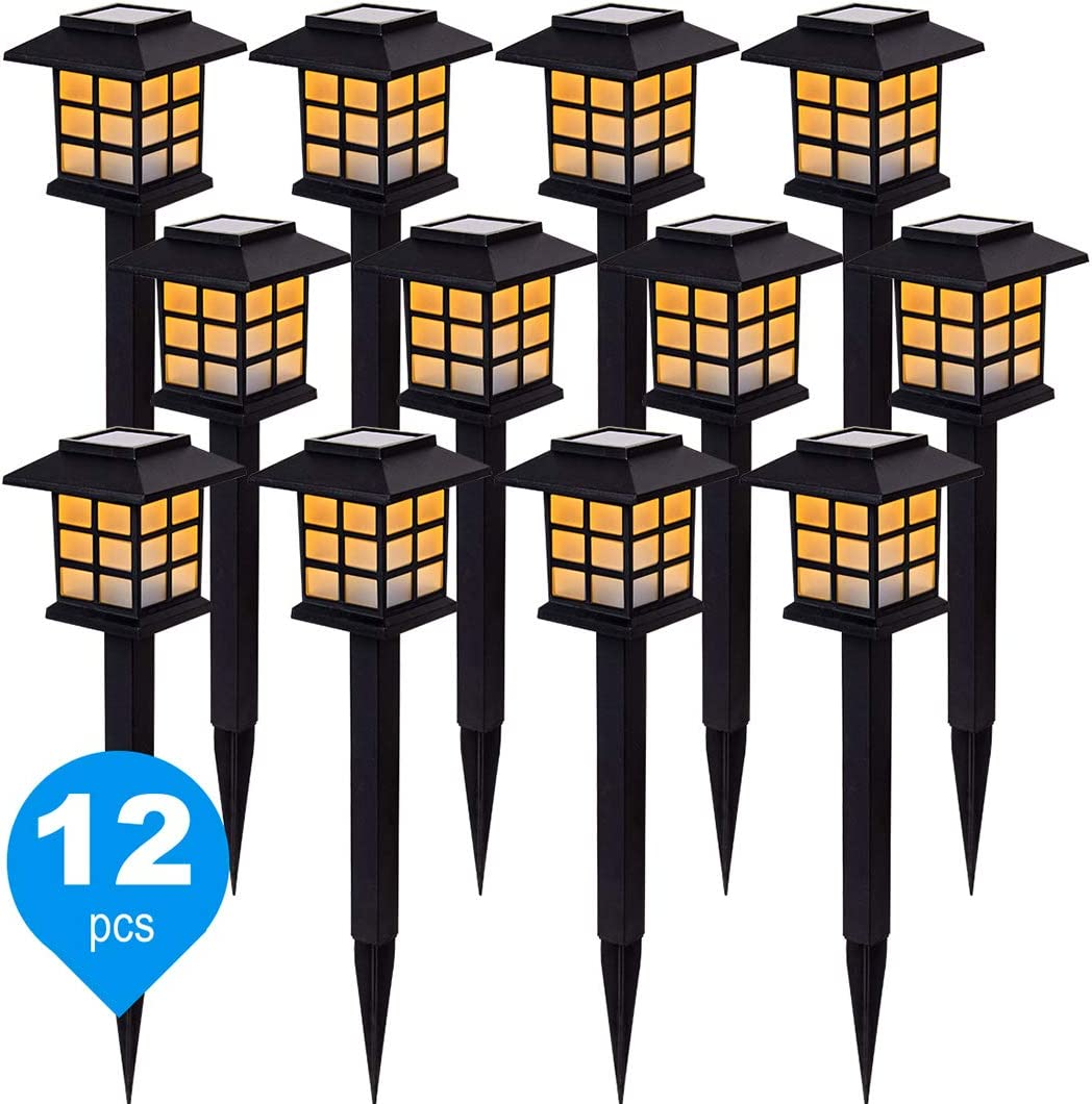 12 Pack Solar Path Lights, New LED Warm White Solar Garden Light for Outdoor with IP44 Waterproof, Solar Pathway Light for Landscape, Driveway, Terrace, and Walkway, Yard. Warm White