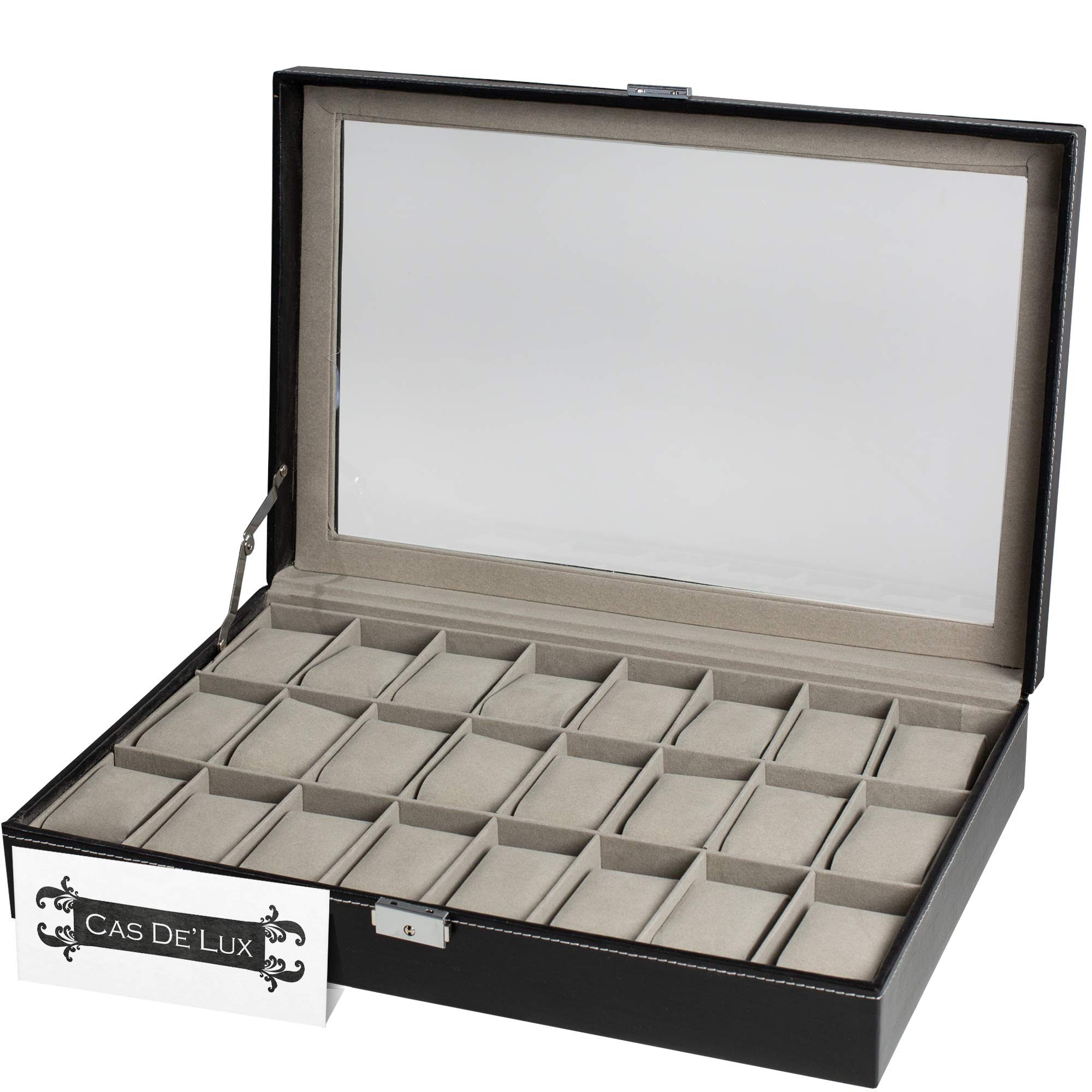 Watch Box Organizer Pillow Case 24 Slot Display Cases With Framed Glass Lid Elegant Contrast Stitching Sturdy and Secure Lock for Men Women Watch and Jewelry Large Holder Boxes