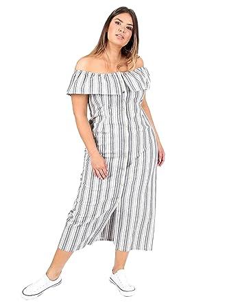3e6c192ae63 Lovedrobe Koko Women s Plus Size Grey Stripe Bardot Maxi Dress (24 ...