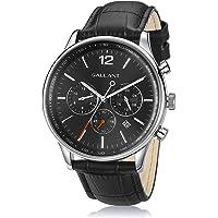 Mens Watch Luxury Quartz Watch for Men with Leather Strap Dual Time Multi Dial Wrist Watch Waterproof Men's Dress Watch…