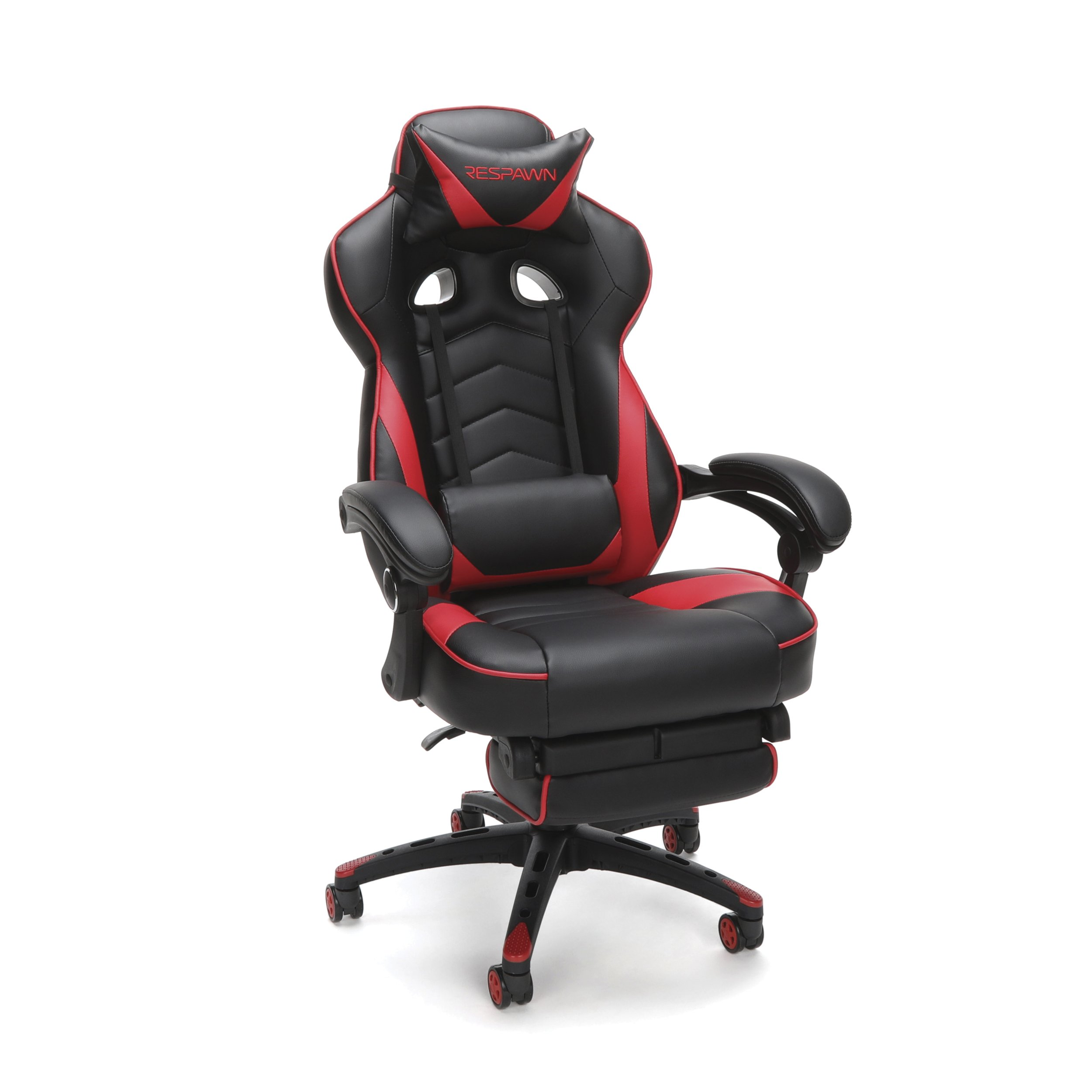 RESPAWN-110 Racing Style Gaming Chair - Reclining Ergonomic Leather Chair with Footrest, Office or Gaming Chair (RSP-110-RED) by RESPAWN