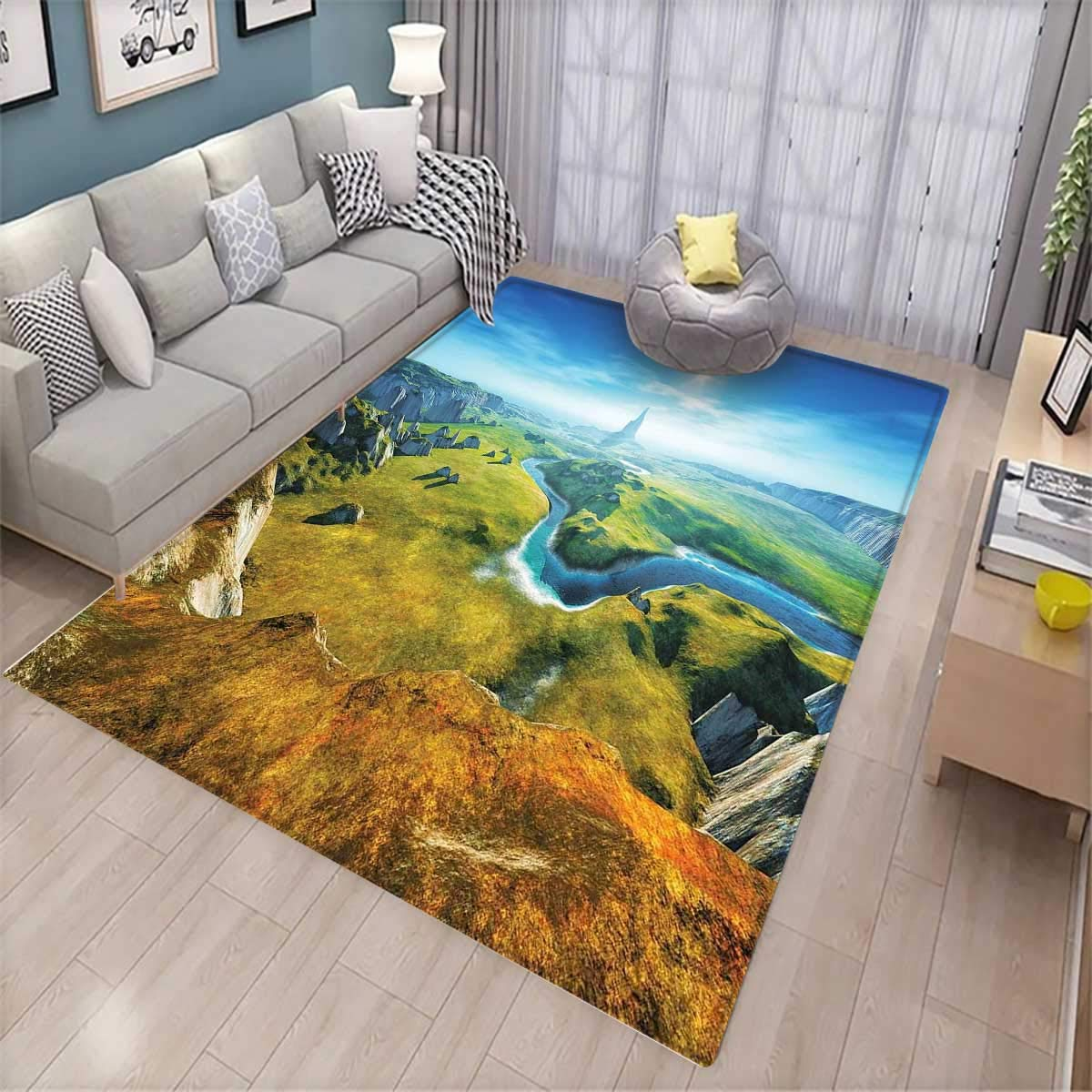 Landscape Customize Door mats for Home Mat 3D Style Colorful Magical Outdoors River Rocks Cliffs Fresh Grass Hiking Door Mat Outside Blue Green Grey