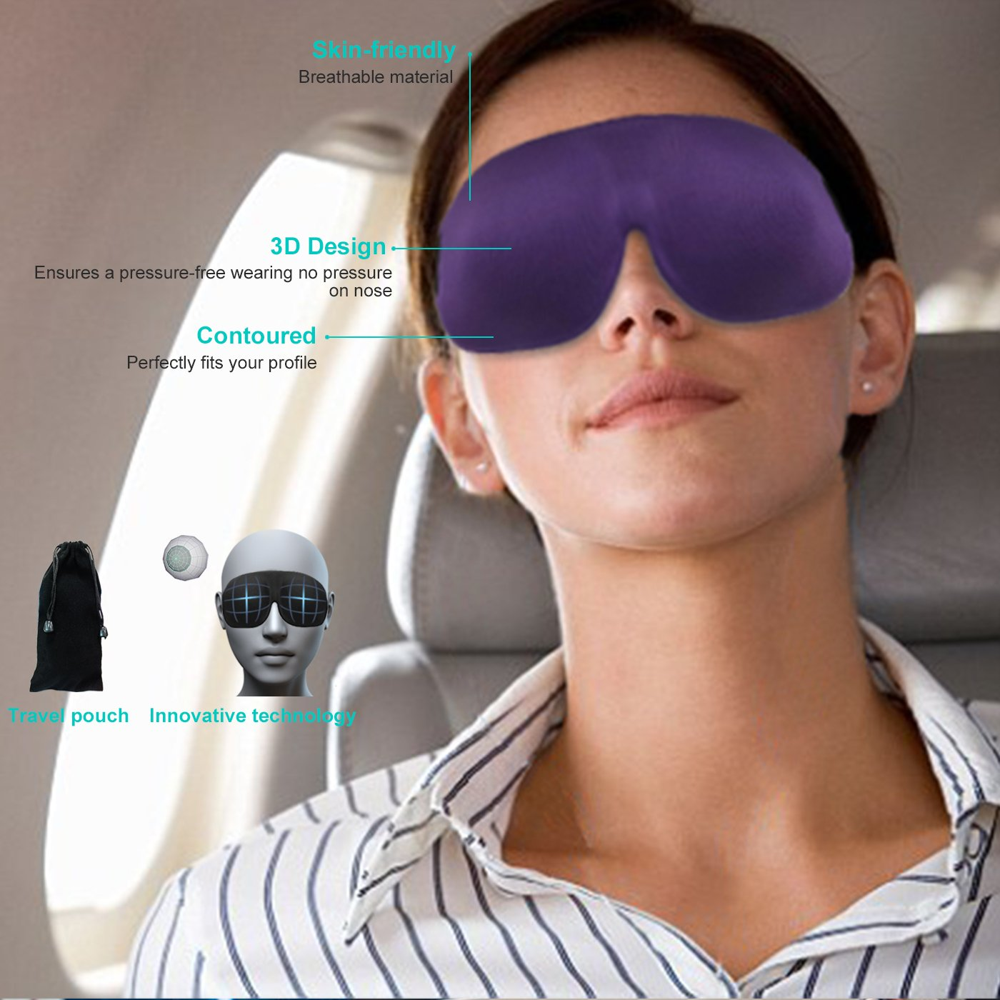 3D Comfortable Purple Travel Sleep Eye Mask for Business Women Won't Ruin Your Make-up, 100% Blackout Portable Office Sleep Face Mask Help Sleep Great Work Day or Business Travel, Adjustable Easy to Clean GreatMaster