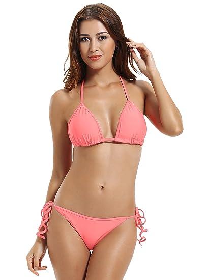 4fb183f68e7c Zeraca Donna Retro Push-up Bikini Reggiseno imbottito Triangolo Donne  Swimwear: Amazon.it: Abbigliamento