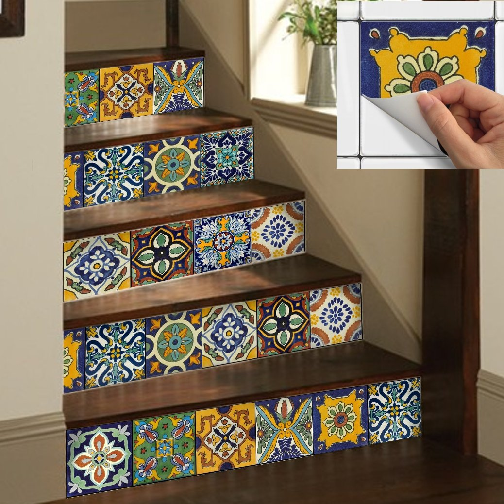 Tile Stickers Mexican Spanish 40pc 4-1/4in Peel and Stick for kitchen and bath Tr002-4Q by SnazzyDecal (Image #4)