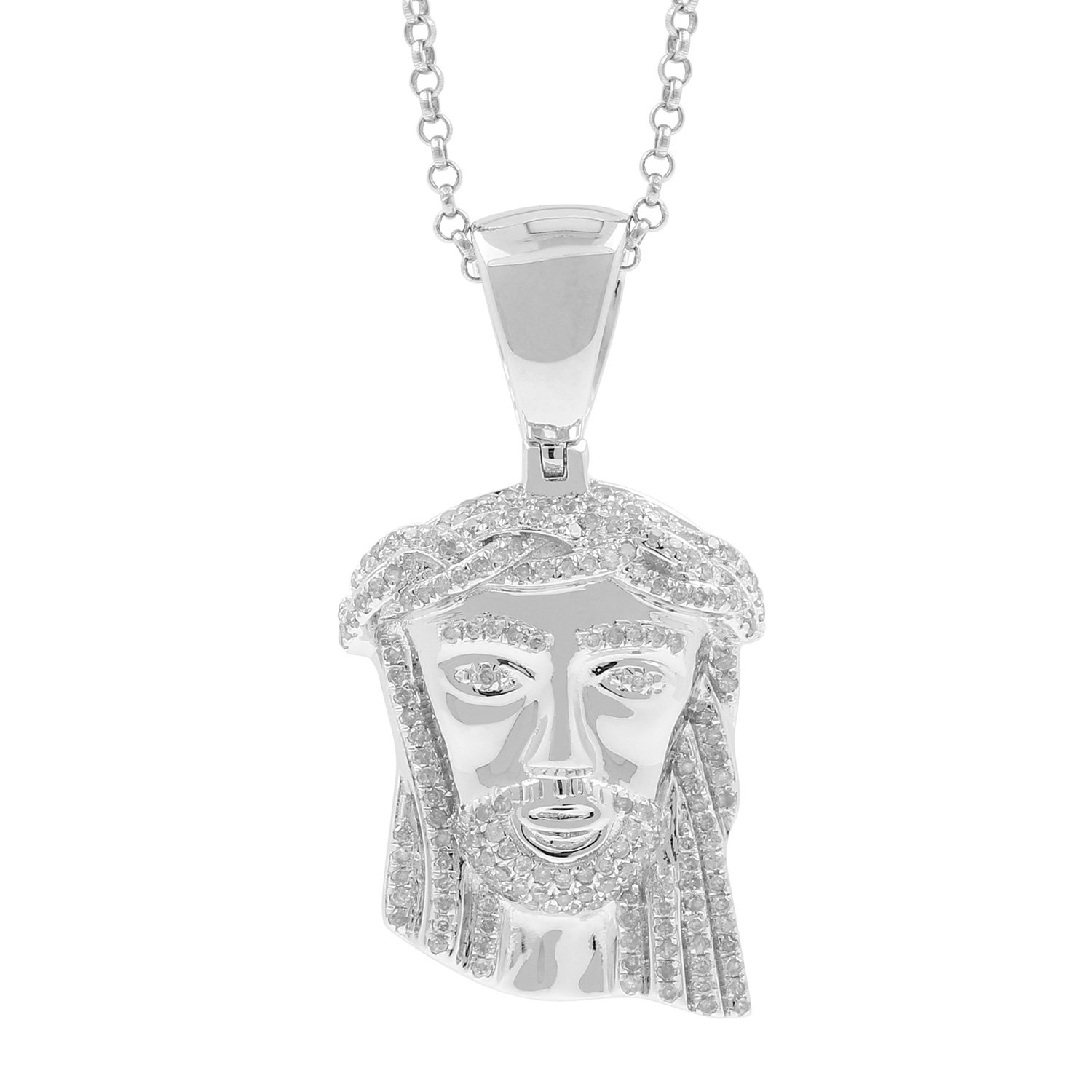 0.68ct Diamond Jesus Face Religious Mens Hip Hop Pendant Necklace in 925 Silver