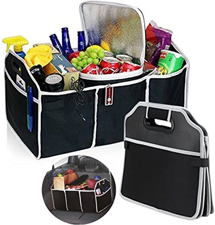 Collapsible Car Boot Trunk Organiser Foldable Storage Bag with Insulated Cooler