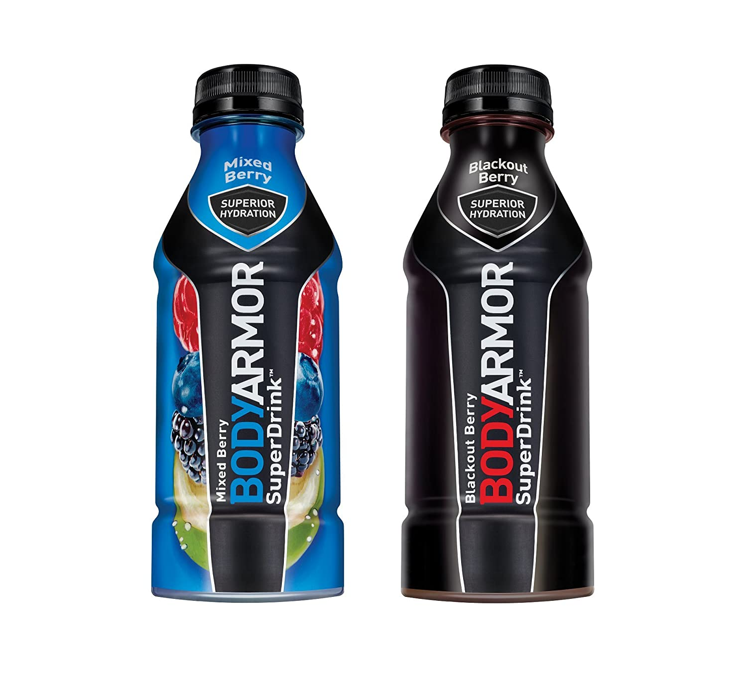 BodyArmor SuperDrink, Electrolyte Sport Drink, Mixed Berry & Blackout Berry 16 Oz (Pack of 24)