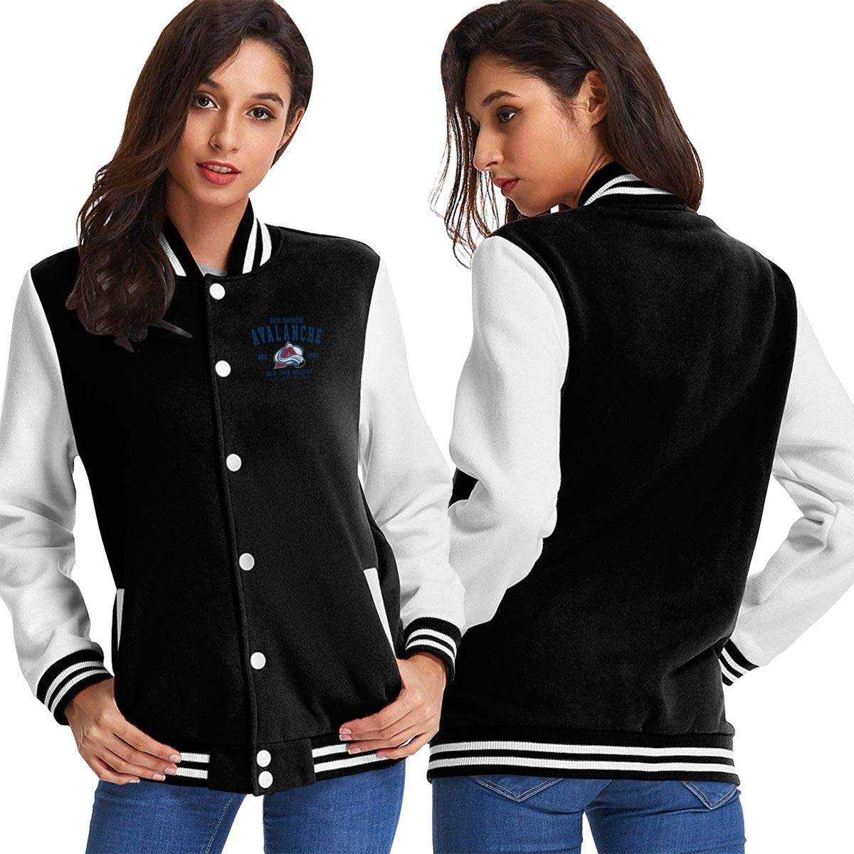 Black Women Basketballsadw coloradoAvalancheOldTimeHockey Baseball Uniform Jacket