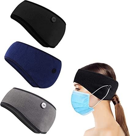 Geyoga 3 Pieces Button Headband Thermal Headband Ear Warmer Headband Winter Headbands Fleece Headband for Women Men
