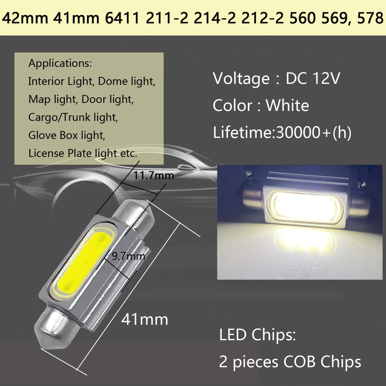 578 LED Bulb White Super Bright 41mm 42mm Canbus Error Free 578 Dome Light Led 578 Festoon LED Bulb 41mm 42mm LED Interior Light MAP Light 211-2 212-2 LED Bulb