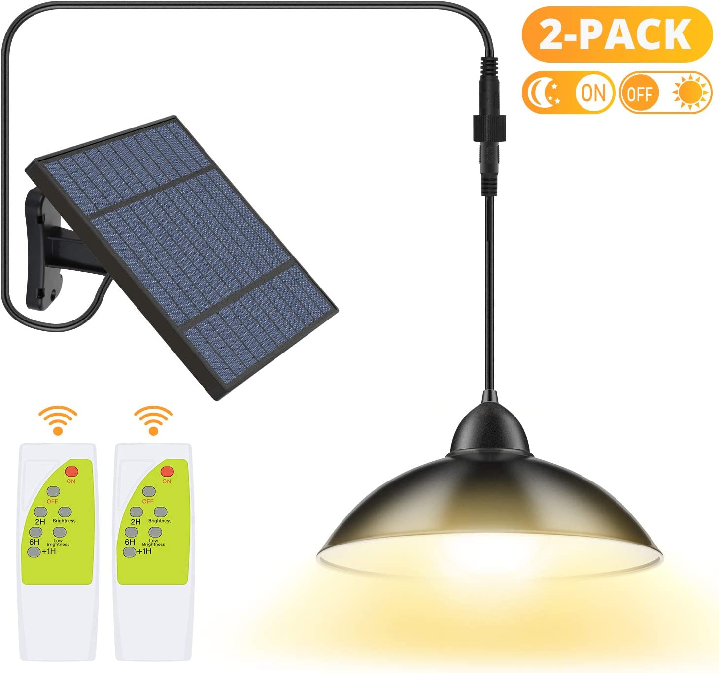 2 Pack Solar Lights Outdoor, Cord LED Solar Shed Lights 32.8FT, Remote Control Pendant Lamp with Adjustable Solar Panel, IP65 Waterproof for Indoor Home Decor Outdoor Garden Patio Yard, Warm White