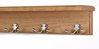 """product image for PegandRail Solid Cherry Shelf Coat Rack with Satin Nickel Double Style Hooks (Cherry, 16"""" with 3 Hooks)"""