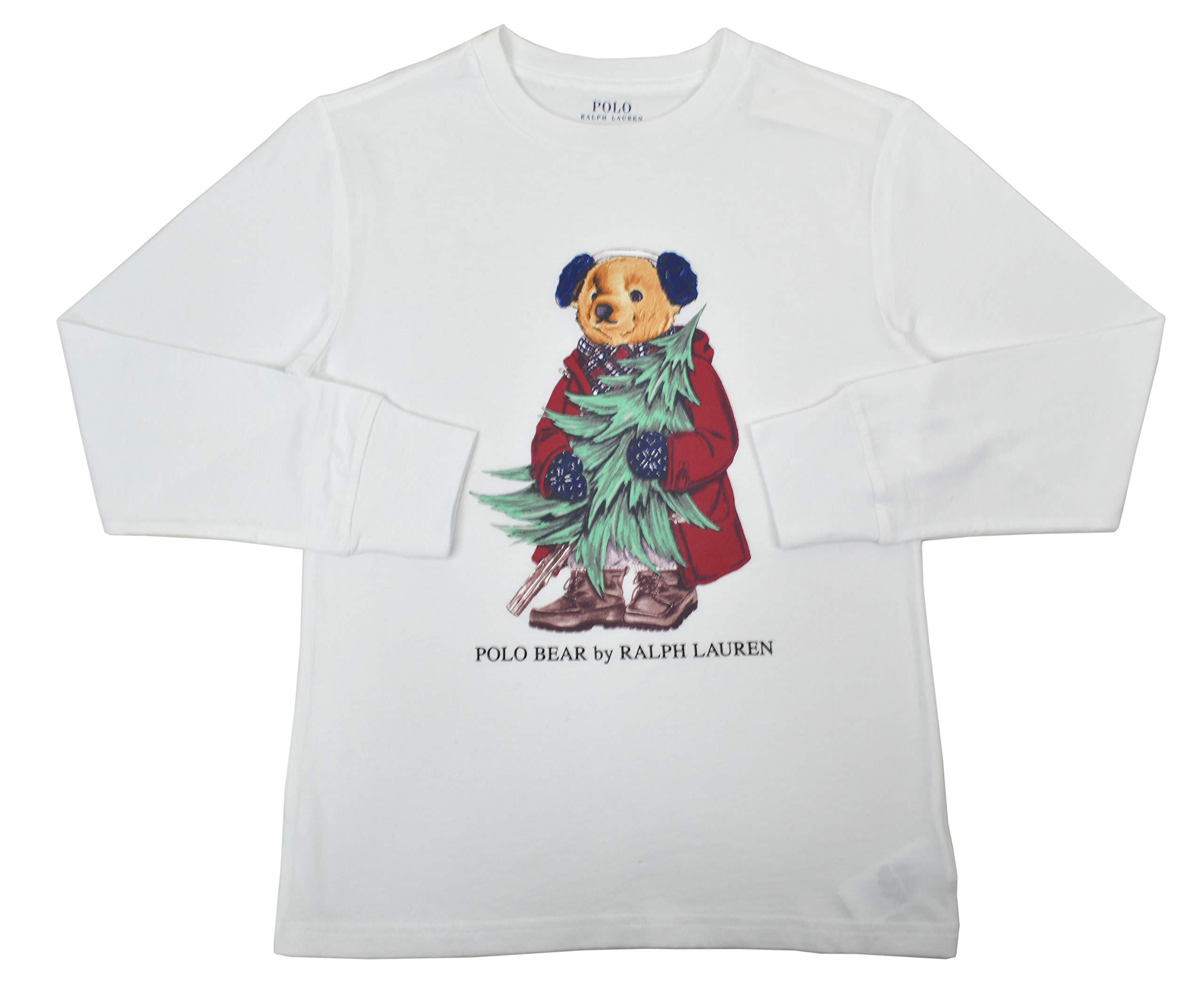 Polo Ralph Lauren Boys Kids Long Sleeve Polo Bear Christmas Graphic Crew Neck Tee T-Shirt White (Medium (10-12))