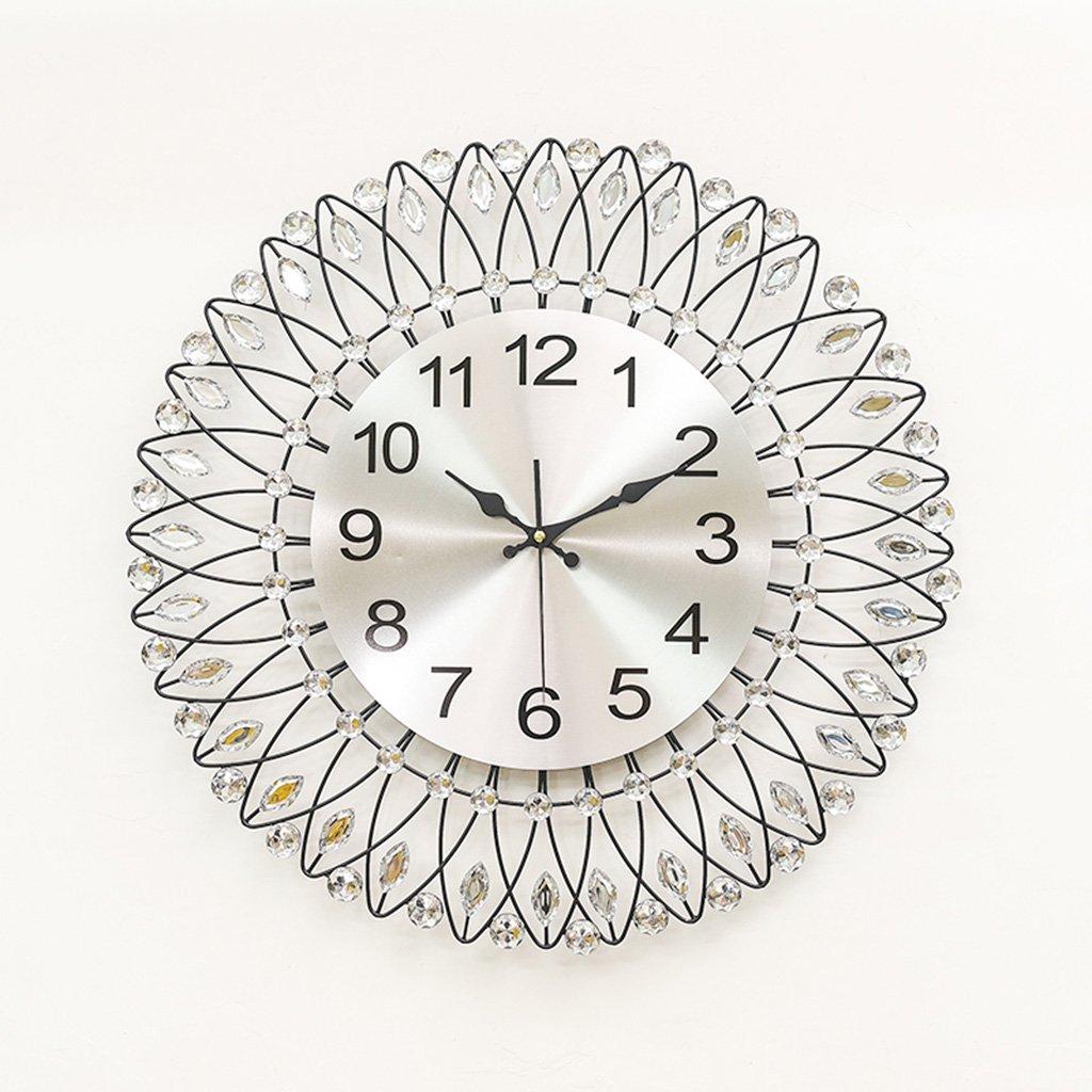 単純な鉄の壁時計、アクリルダイヤモンドとNatood 北欧の花の円形の壁時計のリビングルームの無言のウォールクロックモデル、60×60 Cm、電池なしで,Black B07D8HZK6V Black Black
