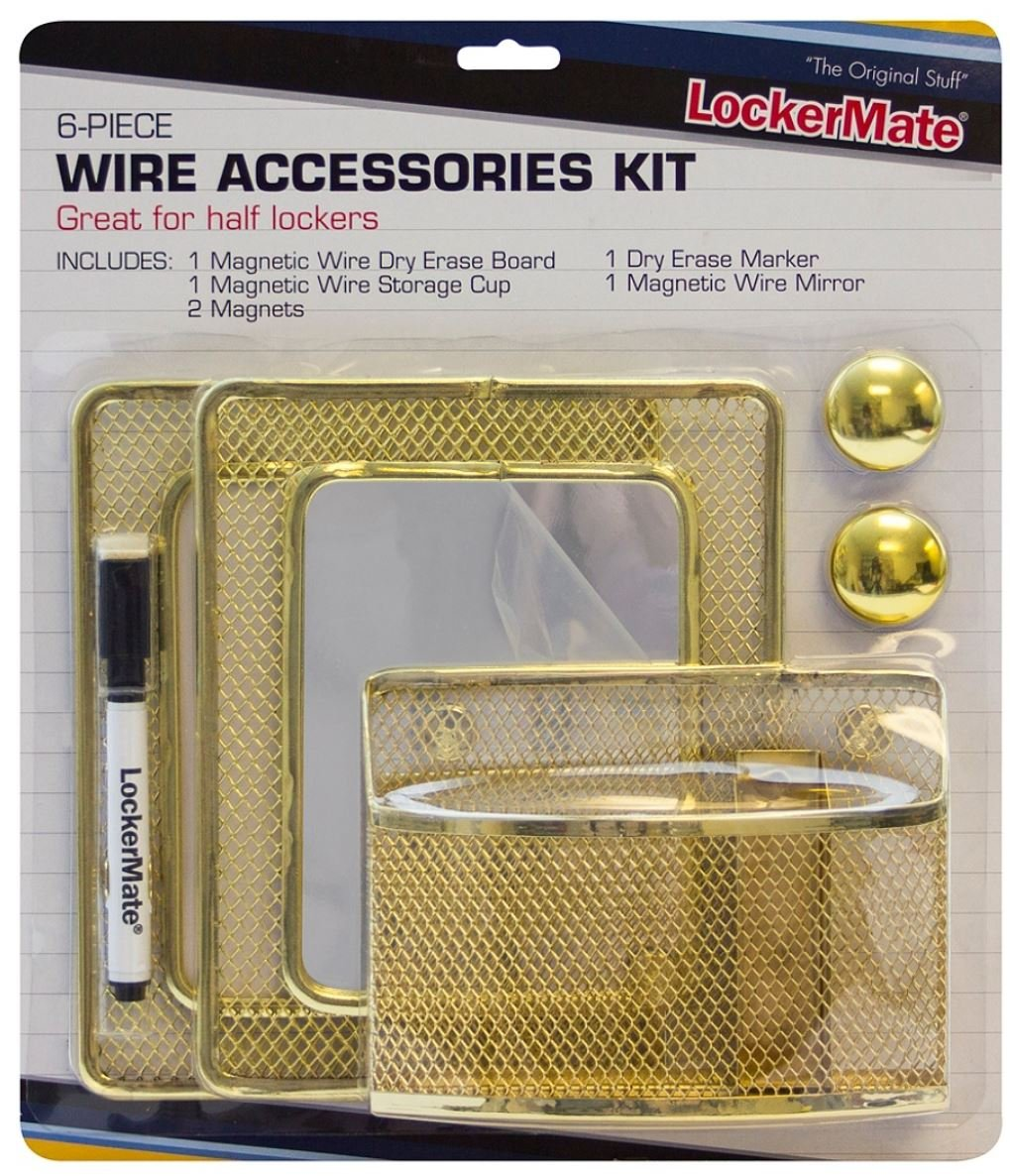 LockerMate 6 Piece Gold Wire Accessories Kit - Dry Erase Board, Magnetic Wire Storage Cup, 2 Magnets, Dry Erase Marker, Magnetic Wire Mirror