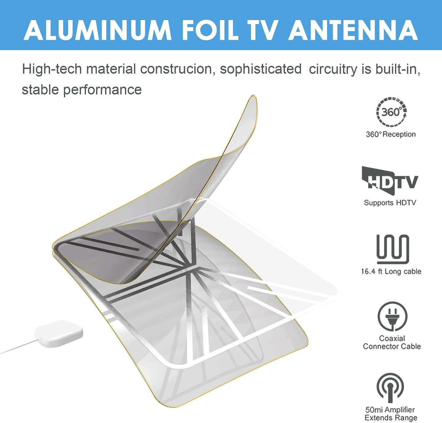 Digital TV Antenna 55+ Miles Amplified Indoor TV Antenna Support 4K 1080P Power Adapter and 13.2ft Longer Coax Cable VHF UHF Freeview Channels with Detachable Amplifier