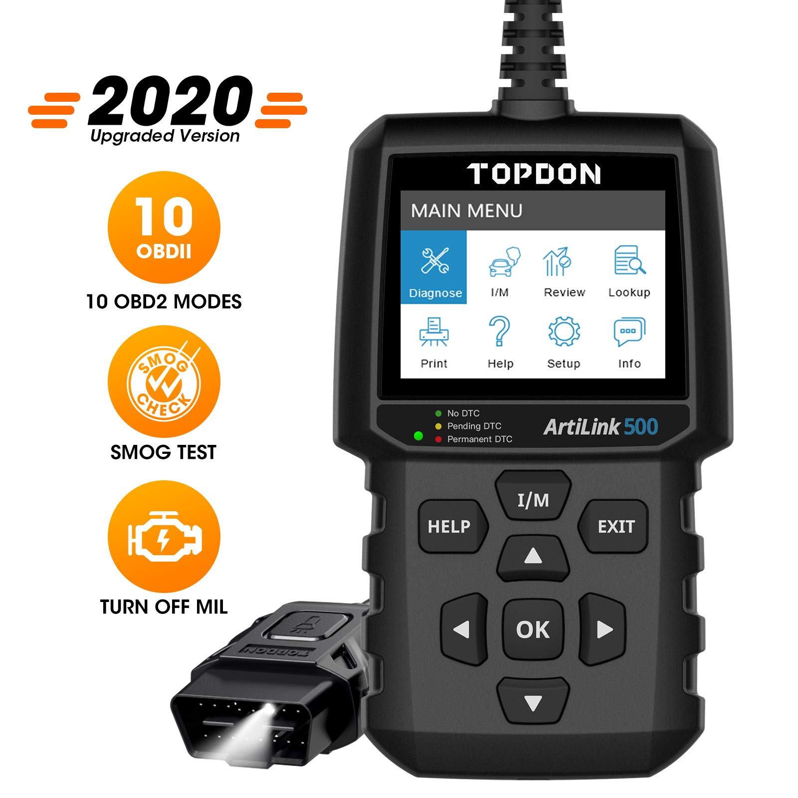 TT TOPDON OBD2 Scanner Code Reader AL500 with All OBD2 Functions Read Codes, Clear Codes, Turn Off Check Engine Light, Pass Smog Check