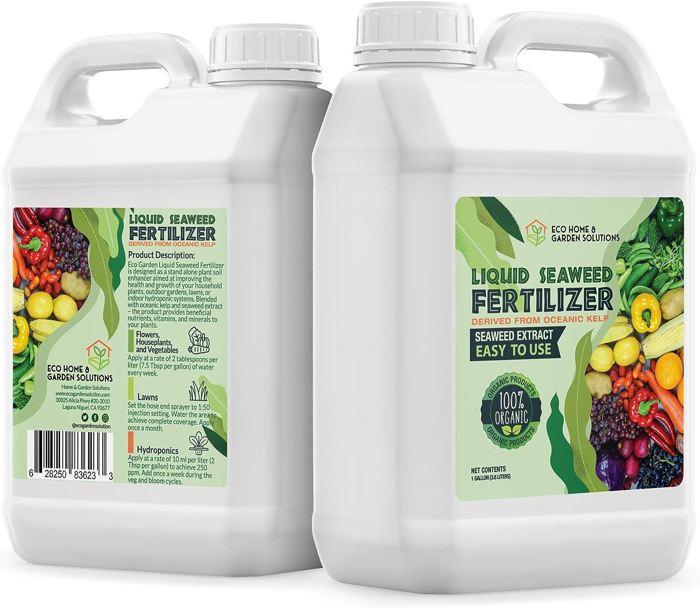 Eco Home & Garden Indoor Plant Fertilizer | Organic Indoor Plant Food Made from Liquid Kelp Seaweed Extract | Great Vegetable Liquid Fertilizer & House Plant Fertilizer Indoor (1 Liter)
