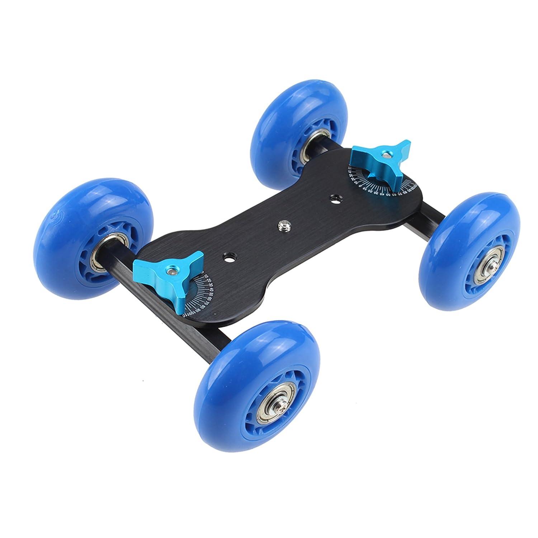 ブルーテーブルトップデスクトップデジタル一眼レフフィルムカメラ写真ビデオレールRollingスライダードリー車スケータートラック   B01ELC34EQ