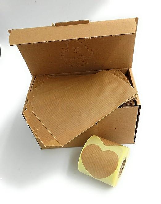 250 sobres bolsas de papel kraft 7 x 12 cm con etiqueta de ...