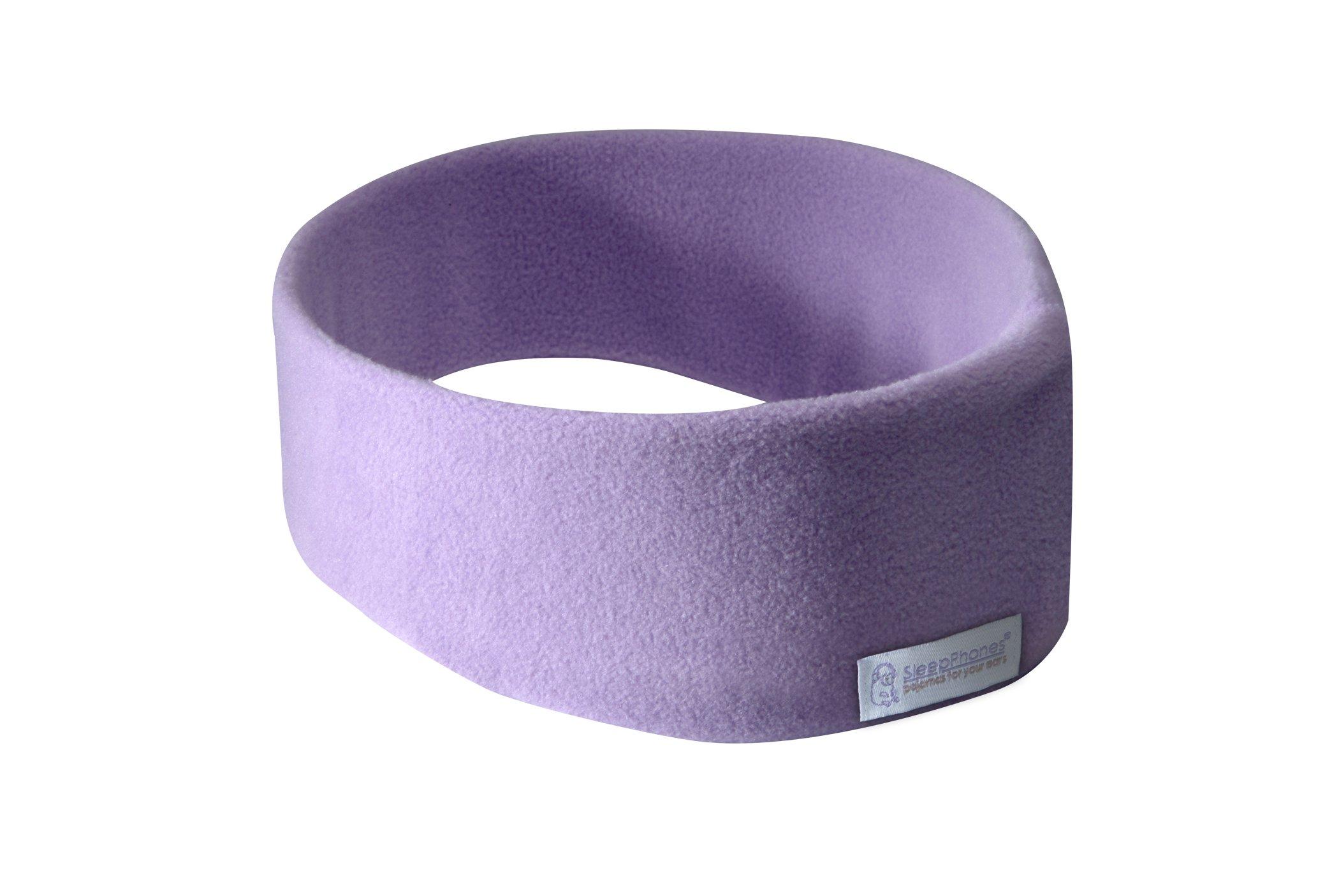 AcousticSheep SleepPhones Wireless | Bluetooth Headphones for Sleep, Travel & More | Flat Speakers | Rechargeable Battery Lasts Up to 10 Hours | Quiet Lavender - Fleece Fabric (Size L)