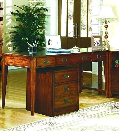 Hooker Furniture Danforth Executive Leg Desk In Rich Medium Brown