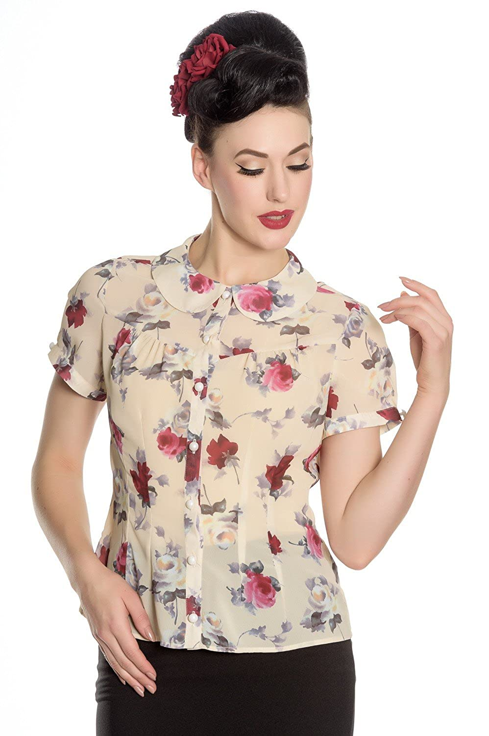 1940s Blouses and Tops Hell Bunny Flowers Rosemary Vintage Retro 40s 50s Leah Blouse Floral Top Shirt $34.99 AT vintagedancer.com