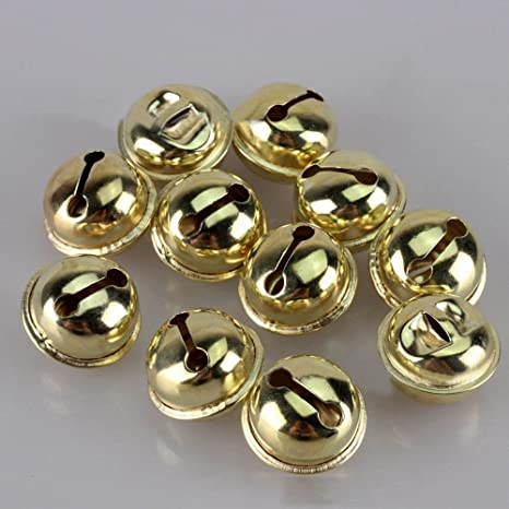 100pcs Jingle Small Bells Christmas Xmas Wedding Decoration Beads Jewelry Findings Charms Silver Color, 12mm